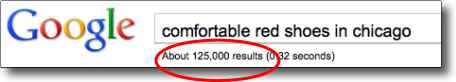 "What  is SEO? Example of search engine results for   ""comfortable red shoes in chicago"""