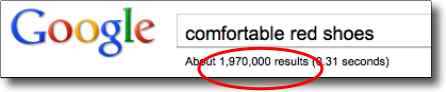 "What  is SEO? Example of search engine results for  ""comfortable red shoes"""